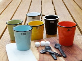 Set of 6 ceramic cups Café Antic Line
