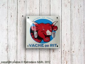 Enamelled square metal sign La Vache qui rit Email Replica