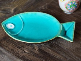Ceramic fish tray Bue Aqua, seaside style, Chehoma