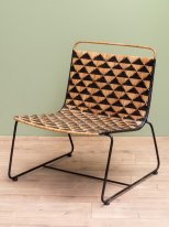 Black and natural rattan armchair Mazamet Chehoma
