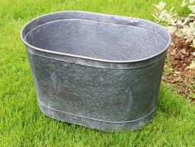 Large zinc oval pot Urban Garden high Ib Laursen