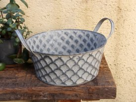 Small zinc basin Cheshire with handle, countryside decor, Krentz