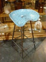 Bar stool Tractor antique blue, bistro style, Antic Line
