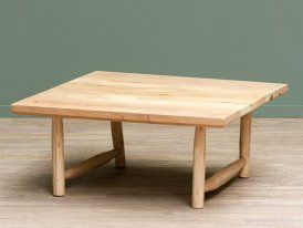 Square wooden low table Archipel, naturel style, Chehoma