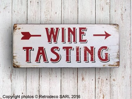 Metal sign Wine tasting, bistro style, Retrodeco