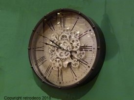 Metal clock Genève with gears, factory style, Chehoma