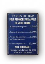 Metal sign Tarifs du Bar, bistro style, Antic Line