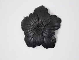 Large black metal mural flower Athezza