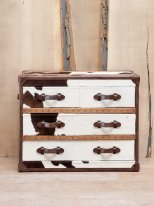 Cowhide chest 4 drawers, mountain decor, Chehoma