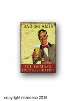 Metal sign Bar des Amis, bistro style, Antic Line