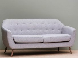Grey sofa Modène - Beech and polyester, vintage decor, Chehoma