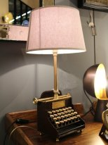 Brass and leather light Qwerty with his lampshade, antique style