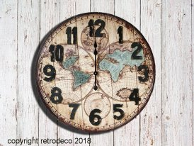 Zinc and wooden clock World, antique style, Antic Line