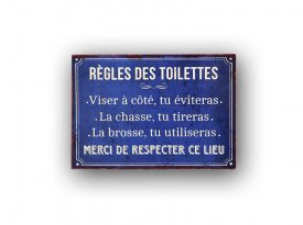 Metal sign Règles des Toilettes Antic Line
