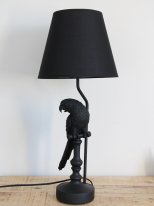 Black resin lamp Parrot with his lampshade Chehoma