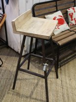 Mango and metal swivel bar stool, factory style, Chehoma