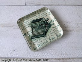 Glass paperweight typewriter, vintage style, Chehoma
