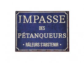 Metal sign Impasse des Pétanqueurs, antique style, Antic Line