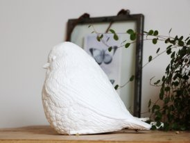 Porcelain standing lamp bird, shabby chic style, Chehoma