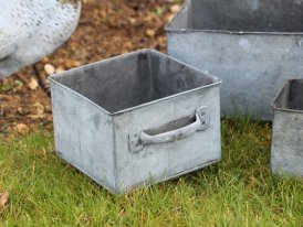 Medium square zinc pot Magaluf country decor, Krentz