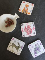 Box of 4 coasters Wildwood Sarah Young, vintage style