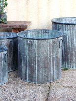 Large round zinc pot Big Bamboo