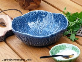 Large ceramic Bordallo bowl delft blue Van Verre, vintage style