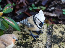 Resin tufted titmouse, country decor, Chehoma