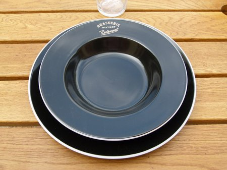 Ceramic black plate Brasserie, bistro deco, Antic Line