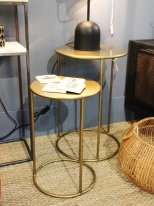 Set of 2 complement tables Duo brass metal Chehoma