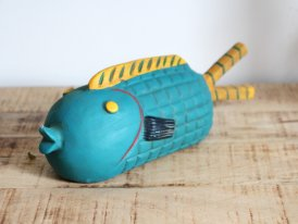Blue and Plump terra cotta fish, seaside decor, Chehoma