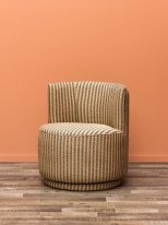 Small and fabric round armchair Markosia, vintage style, Chehoma