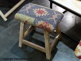 Wooden and blue kilim stool Automne, ethnic style, Chehoma