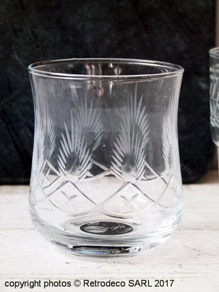 Drinking glass with cutting, antique style, Madam Stoltz