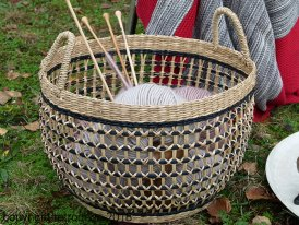 Large round rush basket Tarac natural and black Light & Living