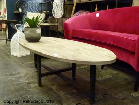 Metal and wooden oval low table Monts Hanjel