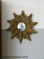 Small mirror sun antique gold, antique style, Chehoma
