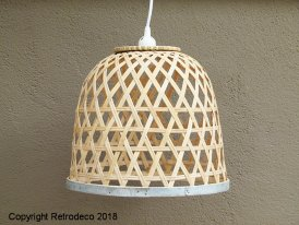 Bamboo hanging lamp with zinc, natural style, Ib Laursen