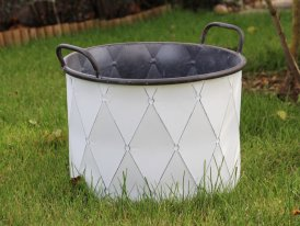 Large antique white metal pot Muscovia, cosy decor, Krentz