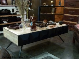 Wooden low table Inyo black, vintage style, Chehoma