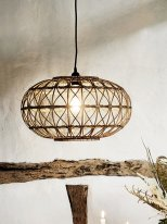 Dark natural rattan oval ceiling lamp, Madam Stoltz
