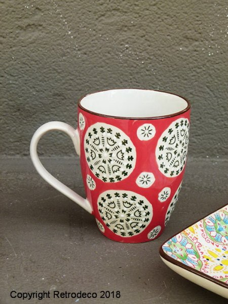 Green and red ceramic mug Bohemian, ethnic chic style, Chehoma