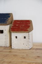 Wooden red fishman house, seaside decor, Chehoma