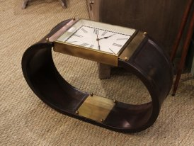 Brass and leather endtable clock, Chehoma
