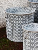 Pot Checkers zinc motif losange GM, deco cosy, Krentz
