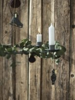 Grey metal advent candle holder hanging, Christmas decor