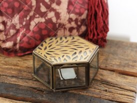 Hexagonal glass box with carvings, ethnic style, Madam Stoltz