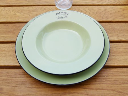 Ceramic green plate Brasserie, bistro deco, Antic Line