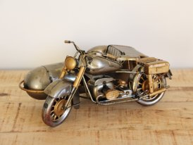 Raw metal side car miniature, vintage decor, Antic Line