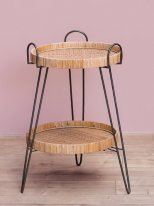 Rattan complement table 2 levels, natural decor, Chehoma